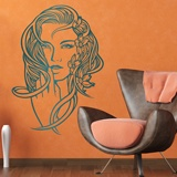 Stickers muraux: Coiffure florale 2