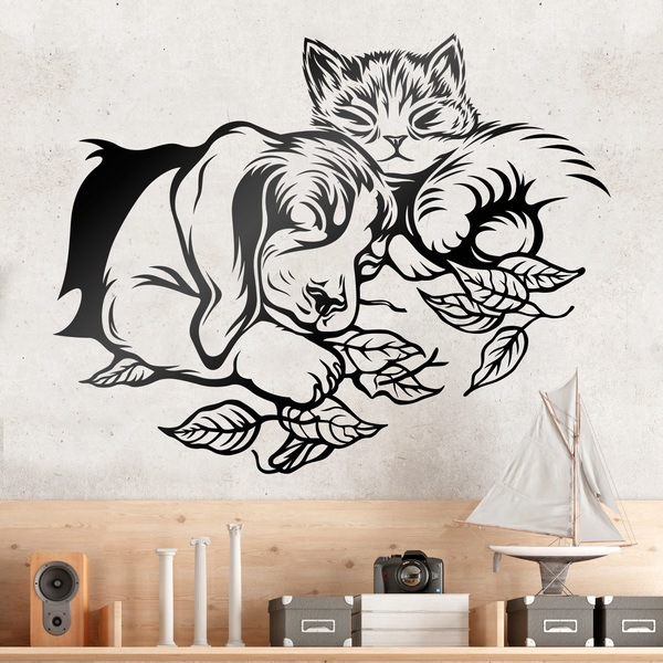sticker mural chien et chat dormir. Black Bedroom Furniture Sets. Home Design Ideas