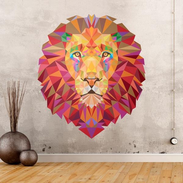 Sticker mural t te de lion origami - Tete animaux mural ...