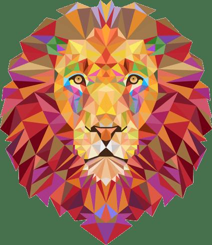 Stickers muraux: Tête de lion origami