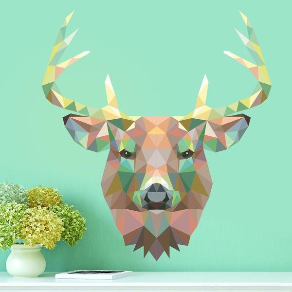 Sticker mural t te de cerf origami - Origami tete de cerf ...