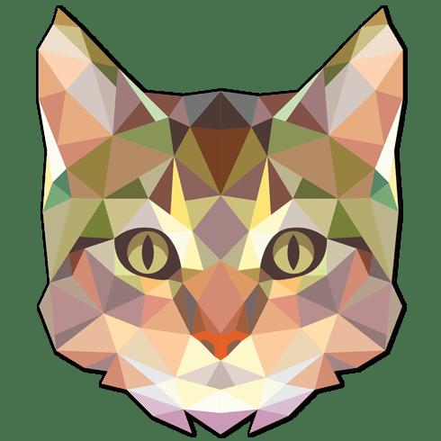 Stickers muraux: Tête de chat origami.