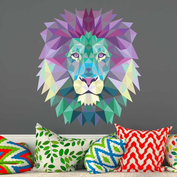 Stickers muraux: Tête de lion origami cool