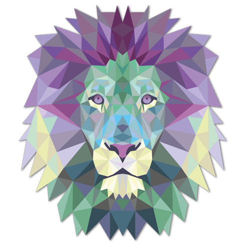 Stickers muraux: Tête de lion origami 2