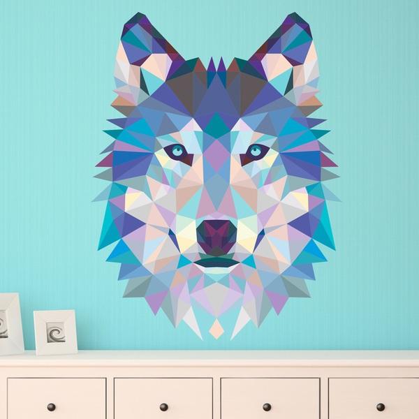 sticker mural t te de loup origami. Black Bedroom Furniture Sets. Home Design Ideas