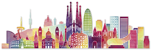 Stickers muraux: Barcelona skyline Couleur