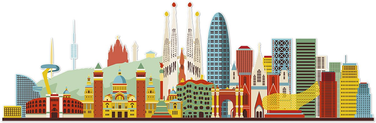 Stickers muraux: Barcelona skyline Couleur 2