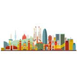 Stickers muraux: Barcelona skyline Couleur 2 4