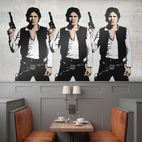 Stickers muraux: Triptyque Han Solo Pop Art