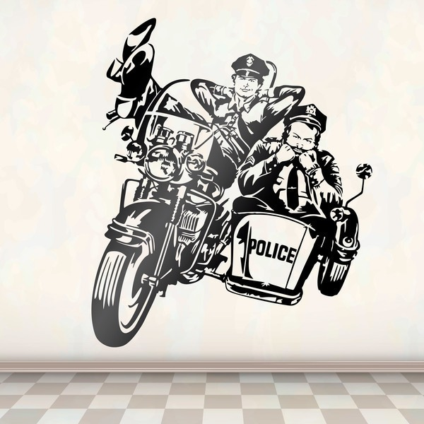 Stickers muraux: Bud Spencer et Terence Hill policiers à moto
