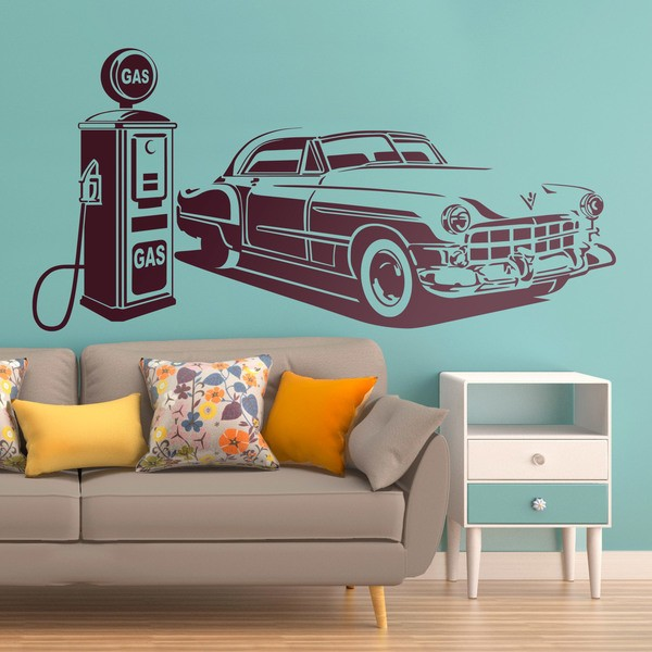 Vosticker mural voiture am ricaine la station de gaz - 3d vinyl wandtattoo ...