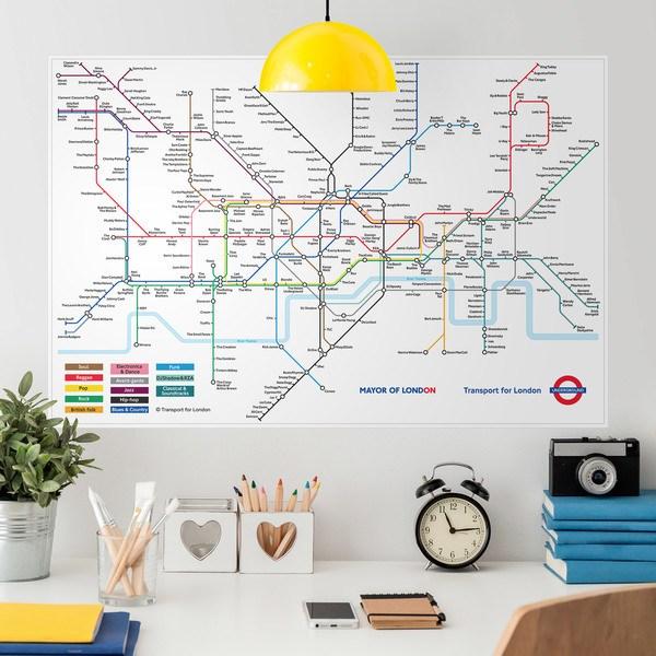 Poster adh sif carte du m tro de londres - Stickers porte london ...