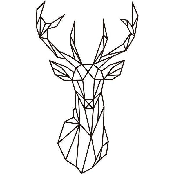 Sticker mural origami t te de cerf g om trique - Tete animaux mural ...
