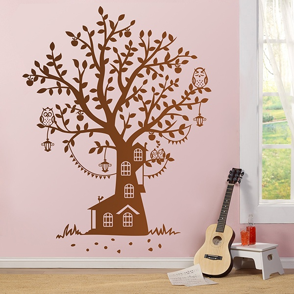 Stickers pour enfants: Le Cottage Owl Tree