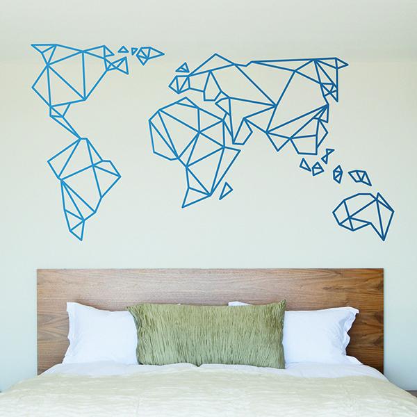 Carte Du Monde Origami.Sticker Mural Carte Origami Mundi Webstickersmuraux Com