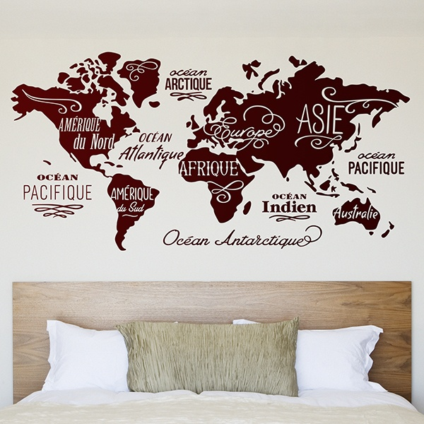 stickers muraux carte du monde. Black Bedroom Furniture Sets. Home Design Ideas