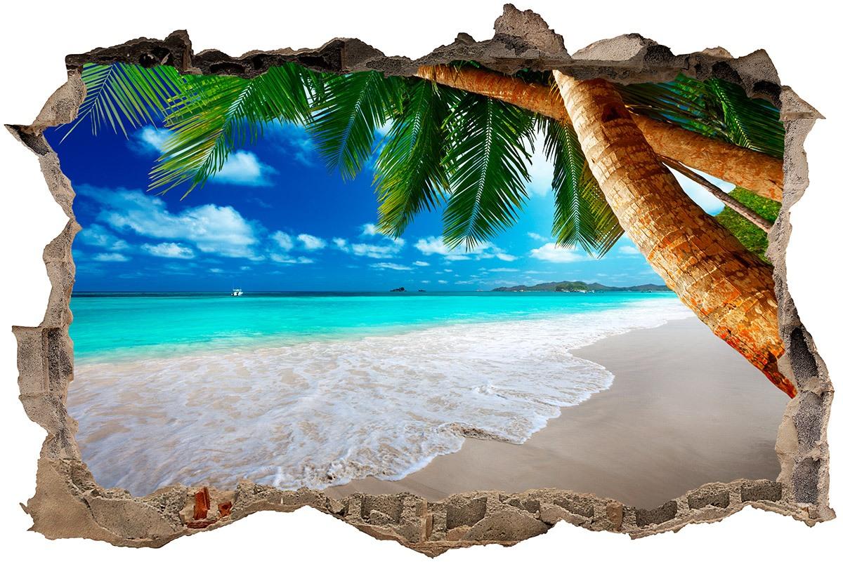 Stickers muraux: Trou Palmier sur la plage 1