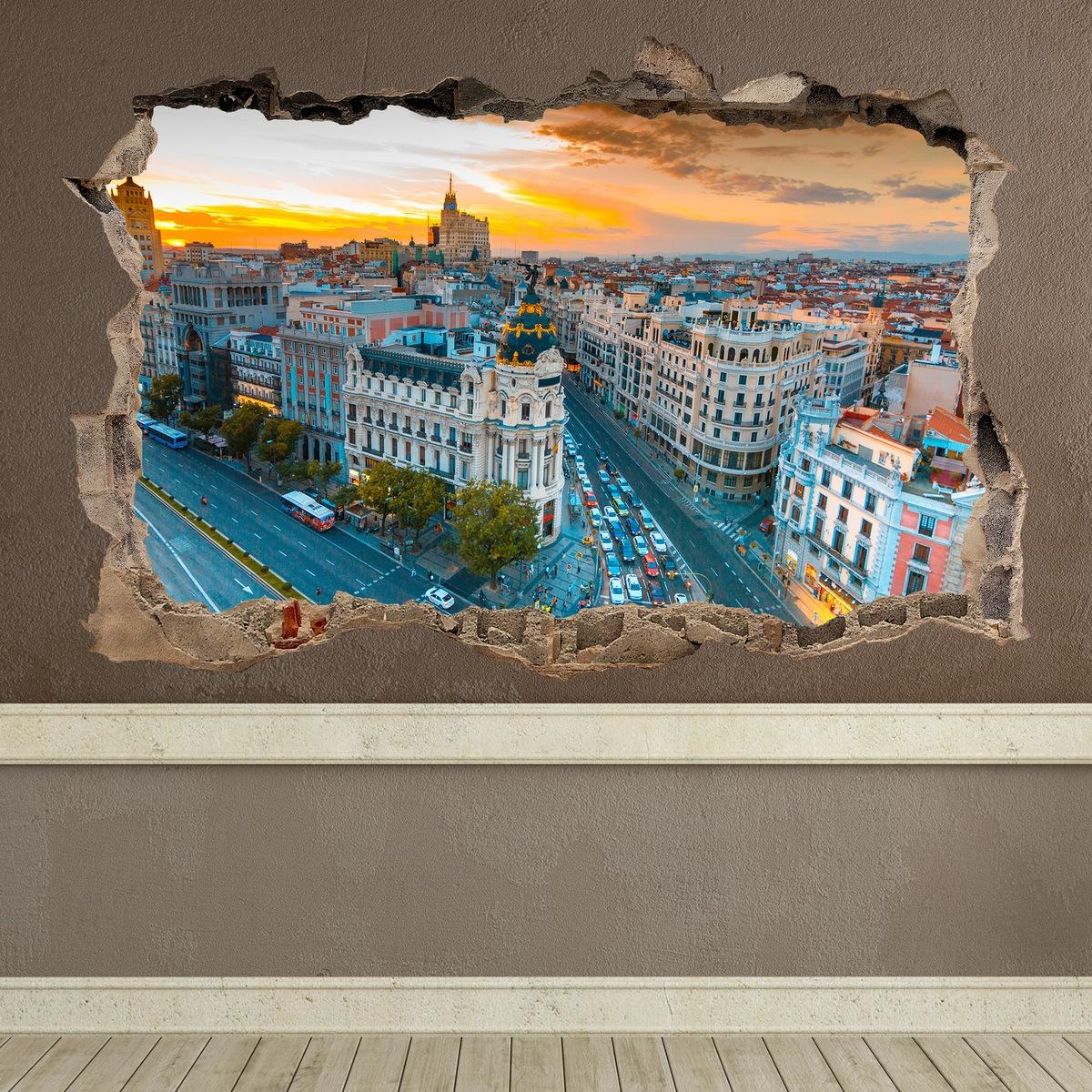 Stickers muraux: Trou Gran Vía Madrid