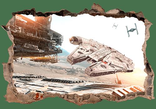 Stickers muraux: Trou Millennium Falcon Star Wars
