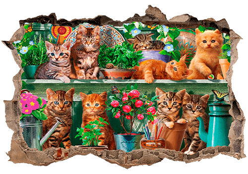 Stickers muraux: Trou Chatons