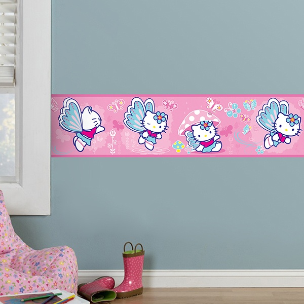 Stickers pour enfants: Frise Murale Hello Kitty papillon