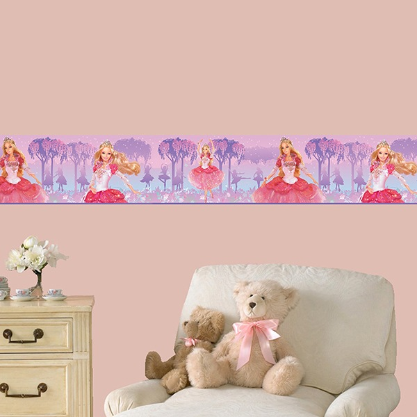 Stickers pour enfants: Frise Murale Barbie princesse