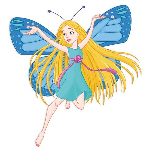 Stickers pour enfants: Papillon bleu Fée