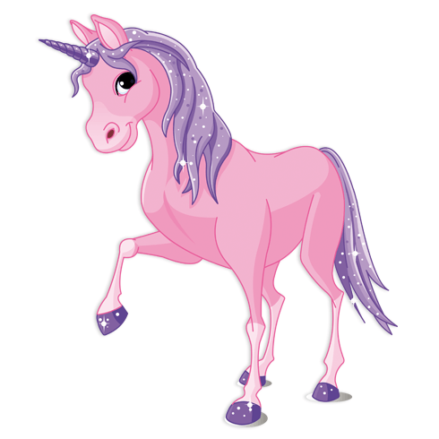 Stickers pour enfants: Cheval Unicorn Rose