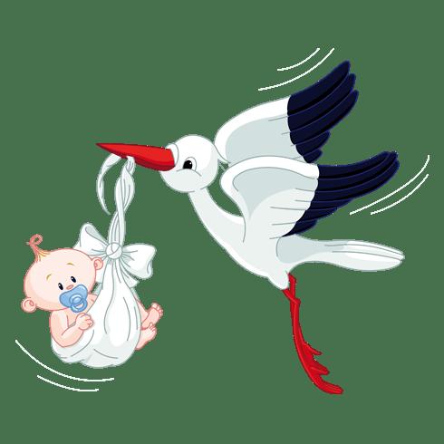 Cigogne Et Bébé sticker mural enfant cigogne et bébé | webstickersmuraux