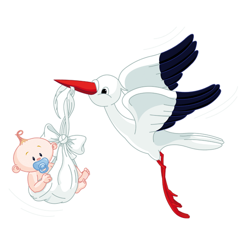 Stickers pour enfants: Cigogne et Bébé