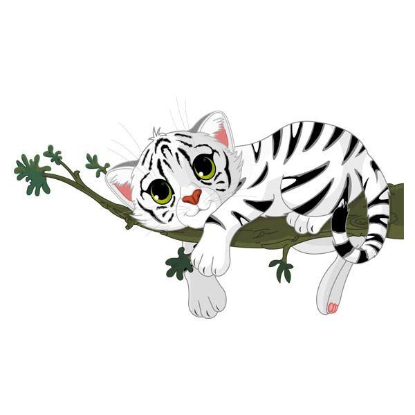 Sticker Mural Enfant Bébé Tigre Blanc Sur Une Branche