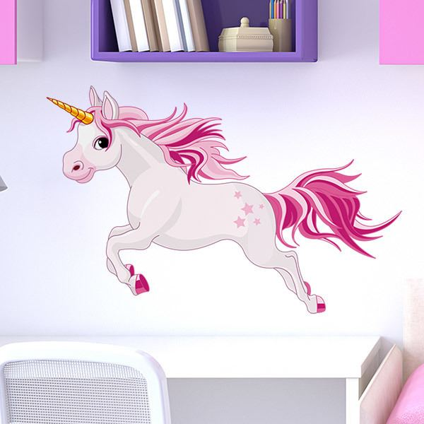 Stickers pour enfants: Cheval Unicorn Rose 2