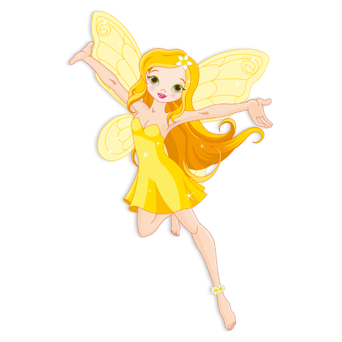 Stickers pour enfants: Jaune fée volante