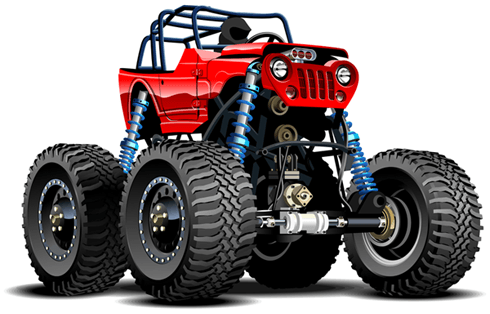 Stickers pour enfants: Monster Truck Safari rouge