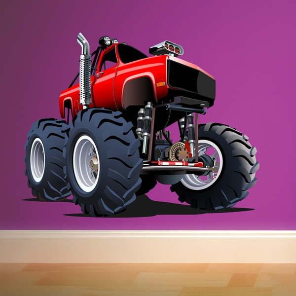 Stickers pour enfants: Monster Truck Rouge