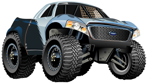 Stickers pour enfants: Monster Truck Pickup Ford 0