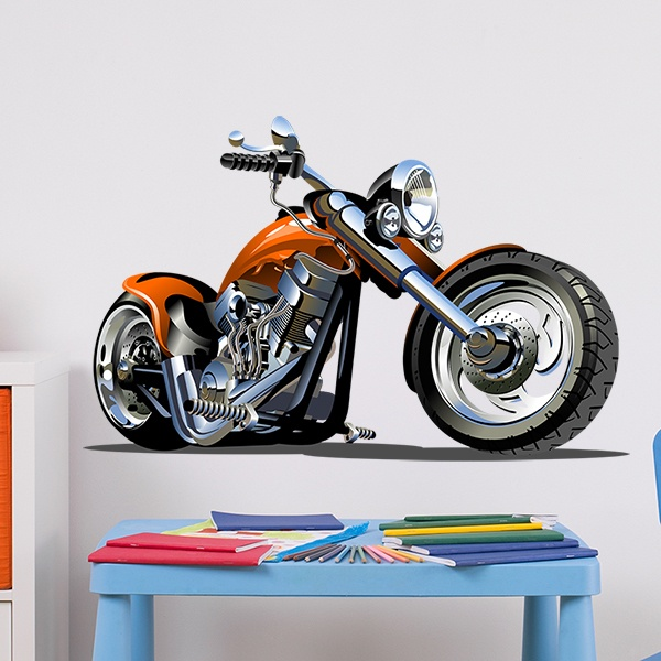 Stickers pour enfants: Harley Harley Orange Moto