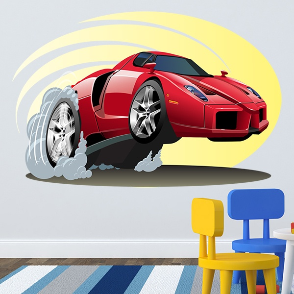 Stickers pour enfants: red sports car 1