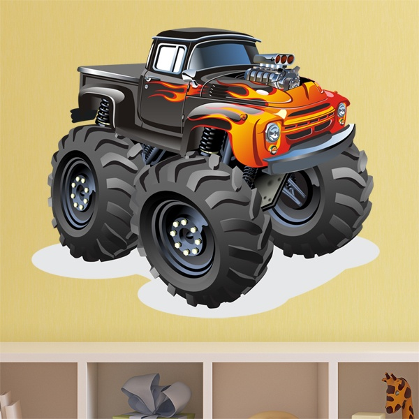 Stickers pour enfants: Monster Truck pickup fire