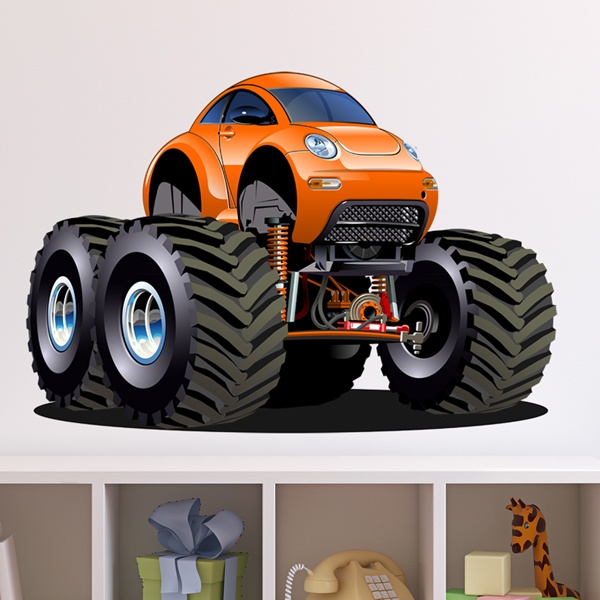 Stickers pour enfants: Monster Truck Orange Beetle