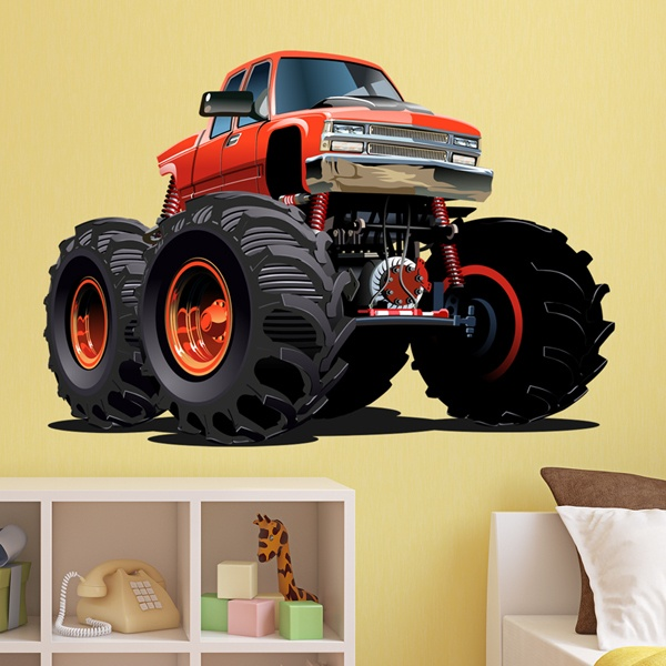 Stickers pour enfants: Monster Truck orange