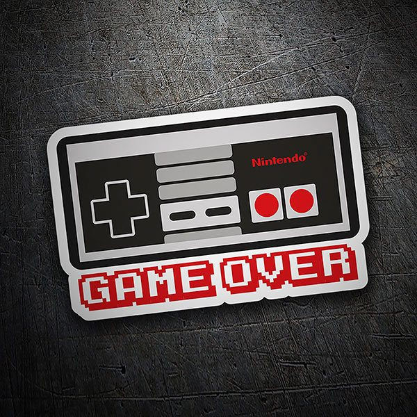 Autocollants: Game Over manette Nintendo