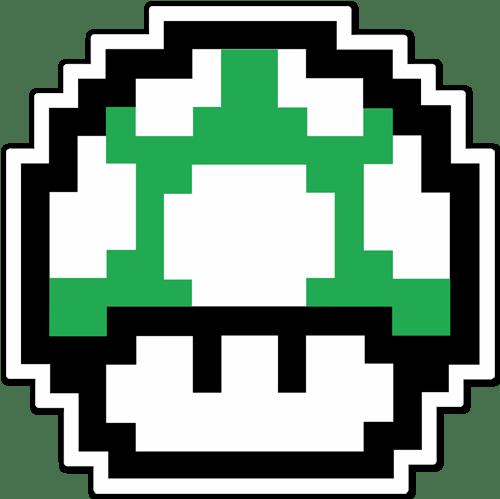 Autocollant Mario Bros Champignon Vert