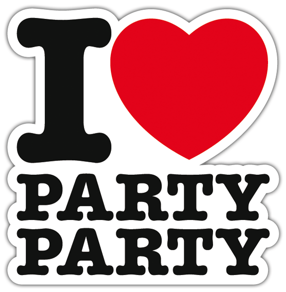 Autocollants: I love party