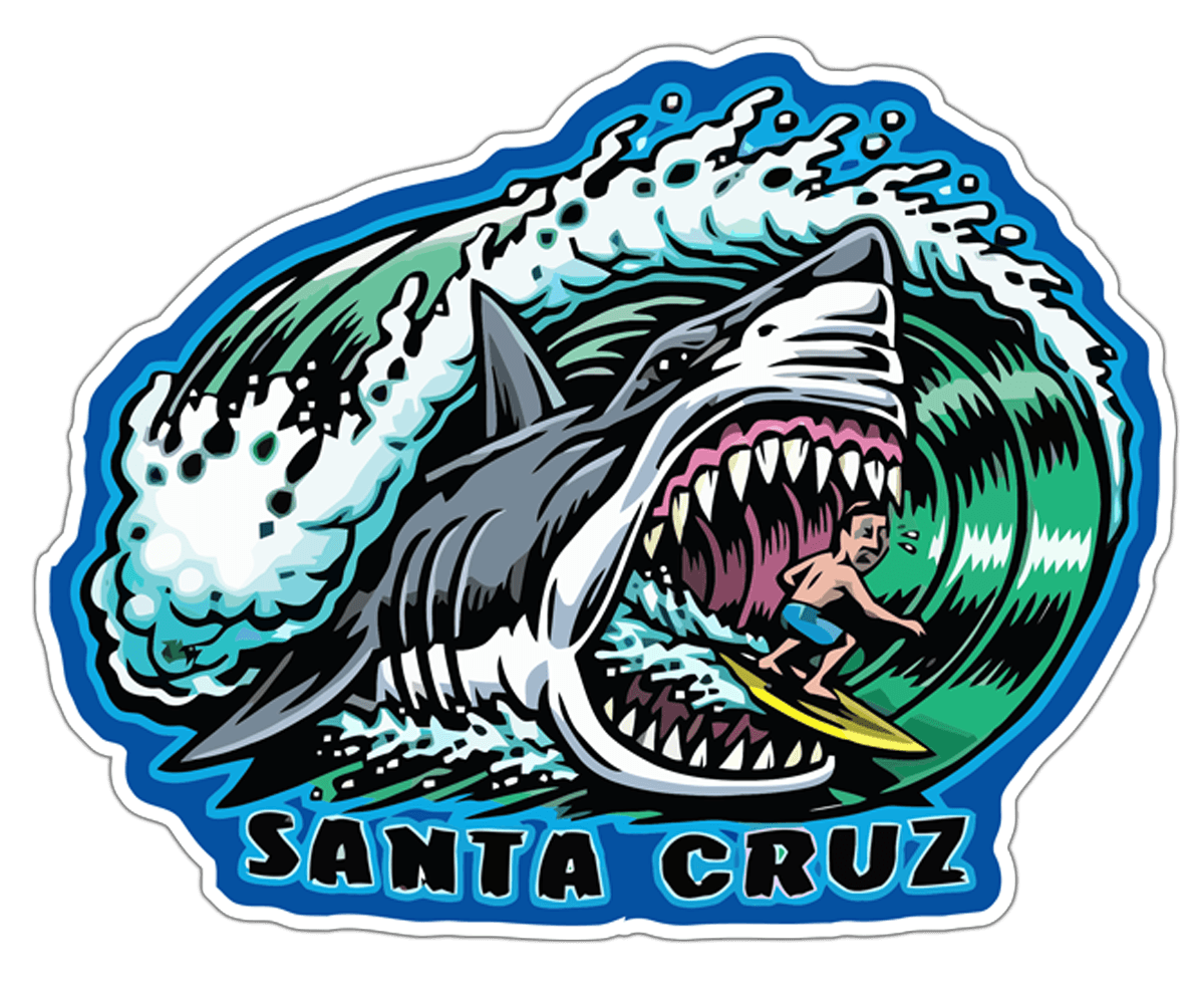 Autocollants: Surfeur et requin Santa Cruz