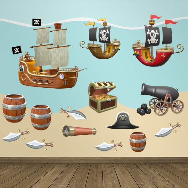 Stickers pour enfants: Pirate Adhesives Kit