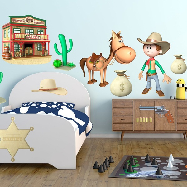 Stickers pour enfants: Kit cowboys occidentaux