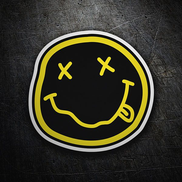Autocollants: Smiley Ivre avec Nirvana Noir