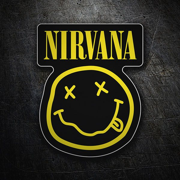 Autocollants: Nirvana avec Smiley Ivre Noir