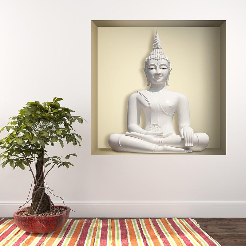 Stickers muraux: Bouddha blanc niche